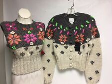 PERUVIAN CONNECTION FOR ANNA SUI 2 PC CARDIGAN SWEATER SIZE L- ALPACA NWT