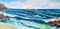 "Art100%orig.oil hand painting10""×20""storm is coming,seascape,landscape, seascape"