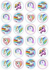 24 Unicorn Horse Cupcake Fairy Cake Toppers Edible Rice Wafer Paper Decorations