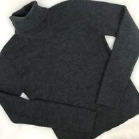 Women's Club Monaco Knit Merino Wool Blend Dark Grey Turtleneck Sweater Size XL