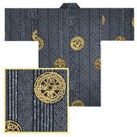 "Japanese Happi Coat Children 18.5/"" Cotton Blue Kotobuki Longevity Made in Japan"