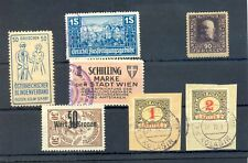 AUSTRIA 7 ST. INCL REVENUES / BACK OF BOOK /POSTER STAMP -- F/VF