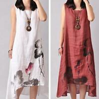 Summer Womens Ethnic Cotton Linen Loose Floral Print Chinese Sleeveless Dress Sz