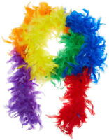 Rainbow Clown Feather Boa Feathered 80's Costume Dress Up LGBT Fancy Accessory