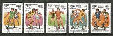 COUPE DU MONDE DE FOOTBALL MEXICO 86 r.p. kampuchea 5 timbres oblitérés /T241