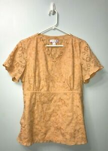 Koi by Kathy Peterson Beautiful Tan Floral Embroidered Scrub Nursing Top Large