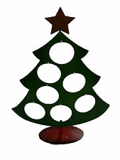 """Diecast Metal 19.5"""" x 15"""" Chrismas Tree with Glittered Star and Stand"""