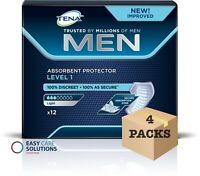 TENA Men Absorbent Protector For Men - Level 1 - Case - 4 Packs of 12 - 48 Pads