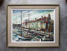 Ancien beau tableau le port St Saint Tropez marine bateau signé à identifier.