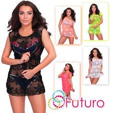 Ladies Bikini Cover Up Swimwear Beach Wear Summer Shirt Dress Sizes 12-16 A16-12