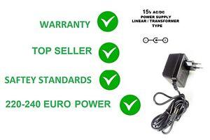 15V AC/DC 200MA LINEAR POWER SUPPLY ADAPTER 220-240V 2.1MM EURO 2-PIN