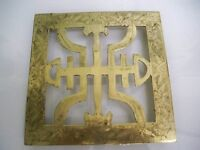 "VINTAGE BRASS FOOTED CHINESE TRIVET MARKED ""CHINA"" 6 3/4 ''"