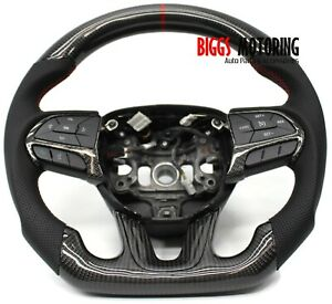 Fits Dodge Challenger Custom Carbon Fiber & Leather Flat Bottom Steering Wheel