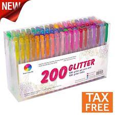 200 Color Glitter Gel Pens Set 100 Individual Glitter Pens Non-Toxic 100 Refills