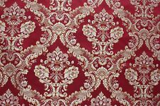 7 YARDS RED FLORAL BROCADE GOLD MEDALLION Upholstery Fabric Victorian Vintage