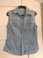 Ladies, light blue jeans top, size 8/10