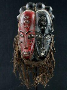 Art African tribal - Mask Baoulé Billiards Ball Double Face - Wood Painted - 24