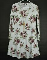 French Atmosphere Women's Medium Long Sleeve Crew Neck Floral Dress w/ Necklace