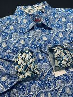 Robert Graham Medium Shirt Mens Paisley Masterpiece Blue Long Sleeve New $198