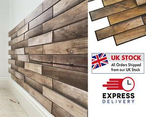 Wood Walnut  3D  Effect Wall Panels PVC Plastic Decorative Brick Tiles Cladding