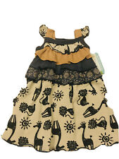 Kooligans Girls Summer Dress Size 12M, Beige & Blue