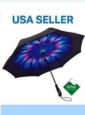 INDIGO FLOWER - Best Premium Reverse Folding Umbrella Layered Teflon Canopy