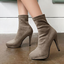 Women's Mid-calf Sock Boots Pointed Toe Suede High Heel Anke Booties US 6 Khaki