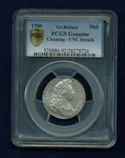 G.B./ENGLAND WILLIAM III 1700 1 SHILLING SILVER COIN PCGS CERTIFIED UNC. DETAILS