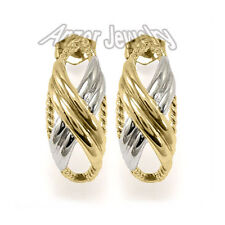 14k Solid White And Yellow Gold X Design Earrings