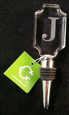 """""""J"""" Initial Monogram Letter Wine Stopper Etched Crystal Clear Silver C Wonder"""