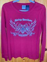 Harley Davidson Mens Large Long Sleeve Waffle Shirt Maroon Cotton Blend