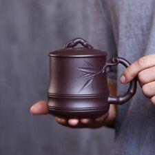 520cc Chinese Yixing Purple Clay Tea Cup Handmade Bamboo Overlay Zisha Mug ZiNi
