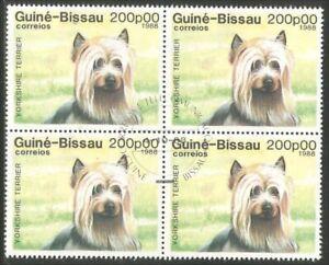 Dog Guinea Bissau Yorkshire Terrier block of 4 stamps (59)