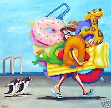 ART PRINT BEACH SURF PAINTING LIMITED EDITION Andy Baker Bald Art Australia