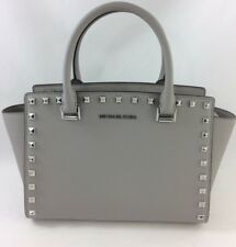 66a73ad2433f New Authentic Michael Kors Selma Stud Medium Top Zip Satchel Handbag Purse  Grey