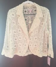 NWT St. Tropez West Ivory Lace One Button Front 3/4 Sleeve Blazer Jacket XL