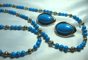 """Dyed Quartz & Test Silver Bead Necklace & Silverplate Earrings Necklace: 32 1/2"""""""