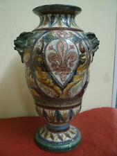 Antico Vaso in Terracotta Dec.Giglio Centrale, Facce Laterali 16x21 cm h 32 cm