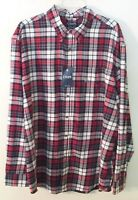 Mens Chaps Red/White/Black/Gray Plaid Flannel Shirt, XXL, 100% Cotton, NWT