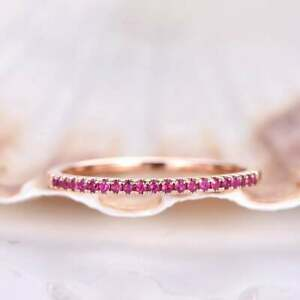 1.2mm Round Cut Ruby Pave Set Half Eternity Weddinng Band 14K Rose Gold Over