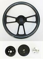 "Chevelle Nova Camaro Impala 14"" Carbon Fiber on Black Steering Wheel plain cap"