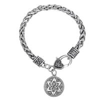 Wicca flowers Knot Pentacle for Protection Vintage Bracelets for Women Pagan Men