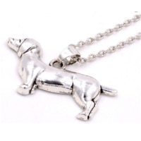 Dachshund Necklace Sausage Dog Pendant Gift Dog Lover Silver Colour Daxie