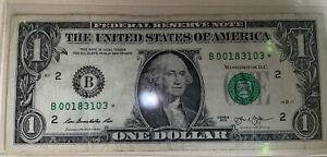 2013 1 dollar bill star note b 00183103*