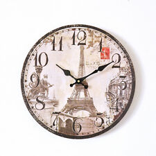 Shabby Cottage Chic Round Eiffel Tower Wall Clock French Vintage Inspired Brown