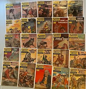 lot of 25 silver age CLASSICS ILLUSTRATED from #62 to #97 in VG+ to FN+