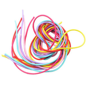 6 Colored Long Straight High Elastic Rubber Band Hair String Hair Rope 100cm