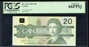 1991 Bank of Canada $20  - BC-58a-ii. PGCS Gem New 66 PPQ - S/N: AIM0599044