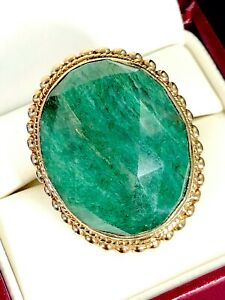 STEPHEN DWECK BRASS 41 CT. OVAL FACETED GREEN CHRYSOCOLLA STONE RING SZ 6.75