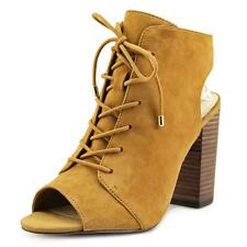 Jessica Simpson KLAYA Lace up PEEP Toe Open Heel Ankle BOOTIES Honey Brown 8.5